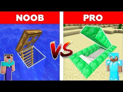 Minecraft - NOOB vs PRO : UNDERWATER BASE vs EMERALD SECRET BASE in minecraft
