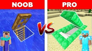 Minecraft - NOOB vs PRO : UNDERWATER BASE vs EMERALD SECRET BASE in minecraft