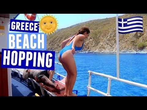 GREECE BEACH HOPPING, JET SKIING, AND GREEK DANCING | Mykonos Day 4!