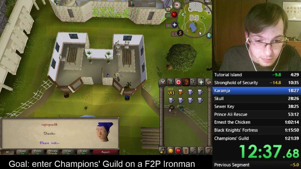 Download Runescape F2P Ironman Champions' Guild Speedrun in 1:21:21 [Former WR]