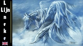 Very beautiful! How to draw  Pegasus in pastel and color pencils