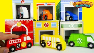 Learn Community Vehicle Names With Stacking Toy Car Garages!