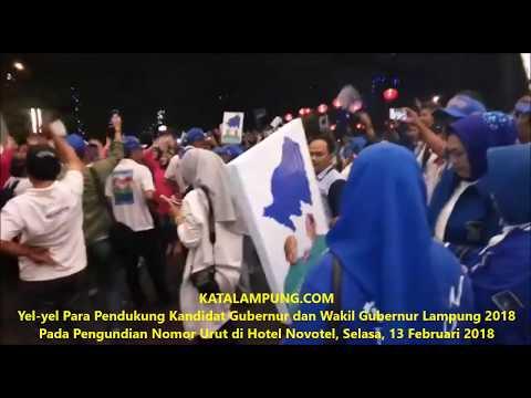 Adu Yel Yel Para Pendukung Calon Gubernur dan Wakil Gubernur Lampung Pada Pengundian Nomor