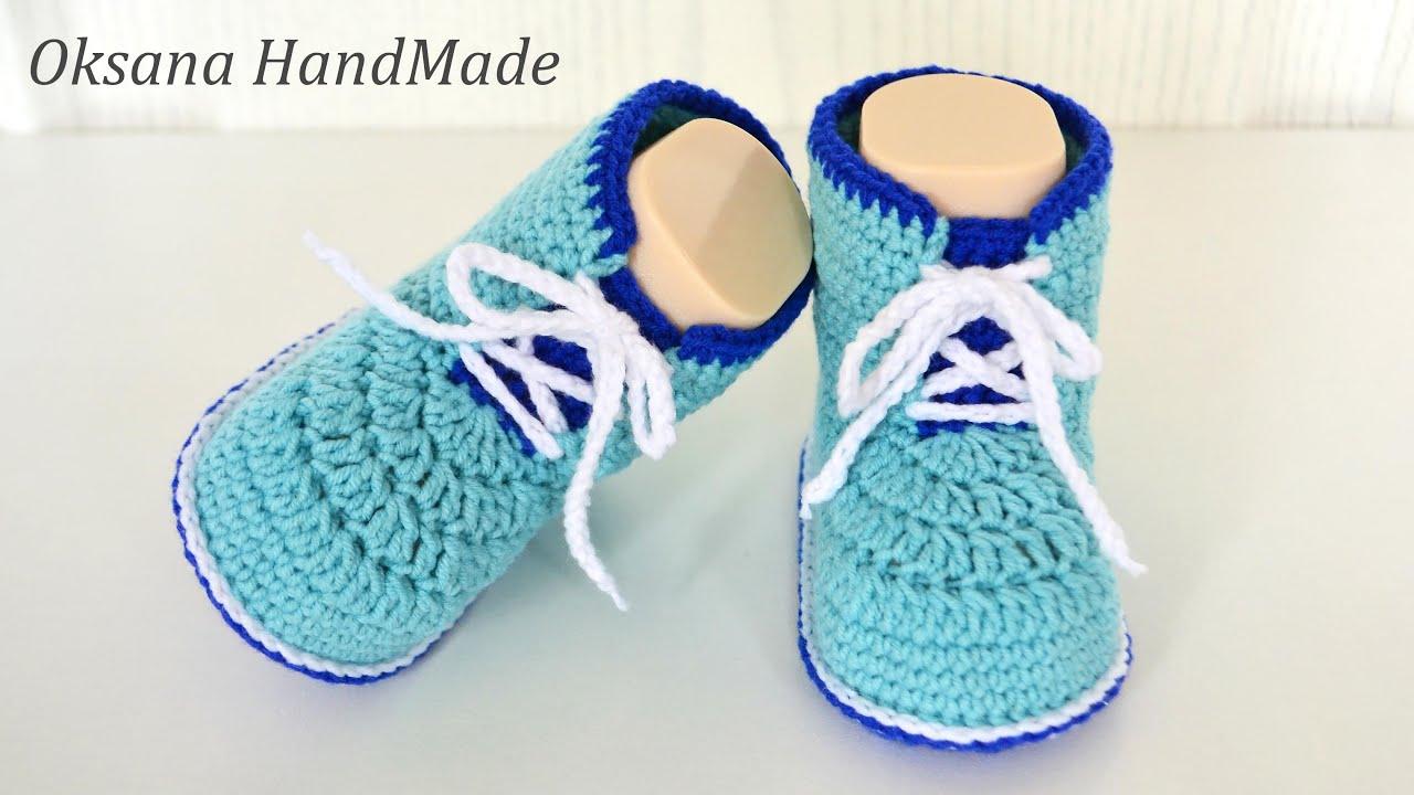 Пинетки Ботинки крючком. Мастер класс и схема. Booties crochet shoes
