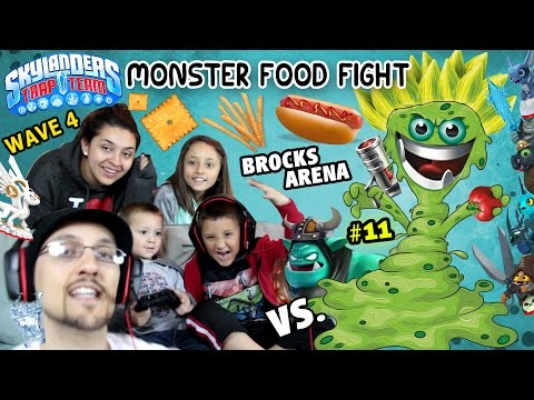 MONSTER FOOD FIGHT! All of Wave 4 Upgraded Gameplay (Us vs. Brock Part 11 | Skylanders Trap Team)
