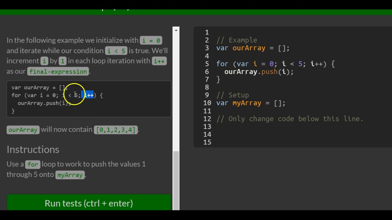 Iterate with Javascript For Loops, freeCodeCamp Basic Javascript