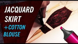 JACQUARD SKIRT & COTTON BLOUSE | Fashion Drawing