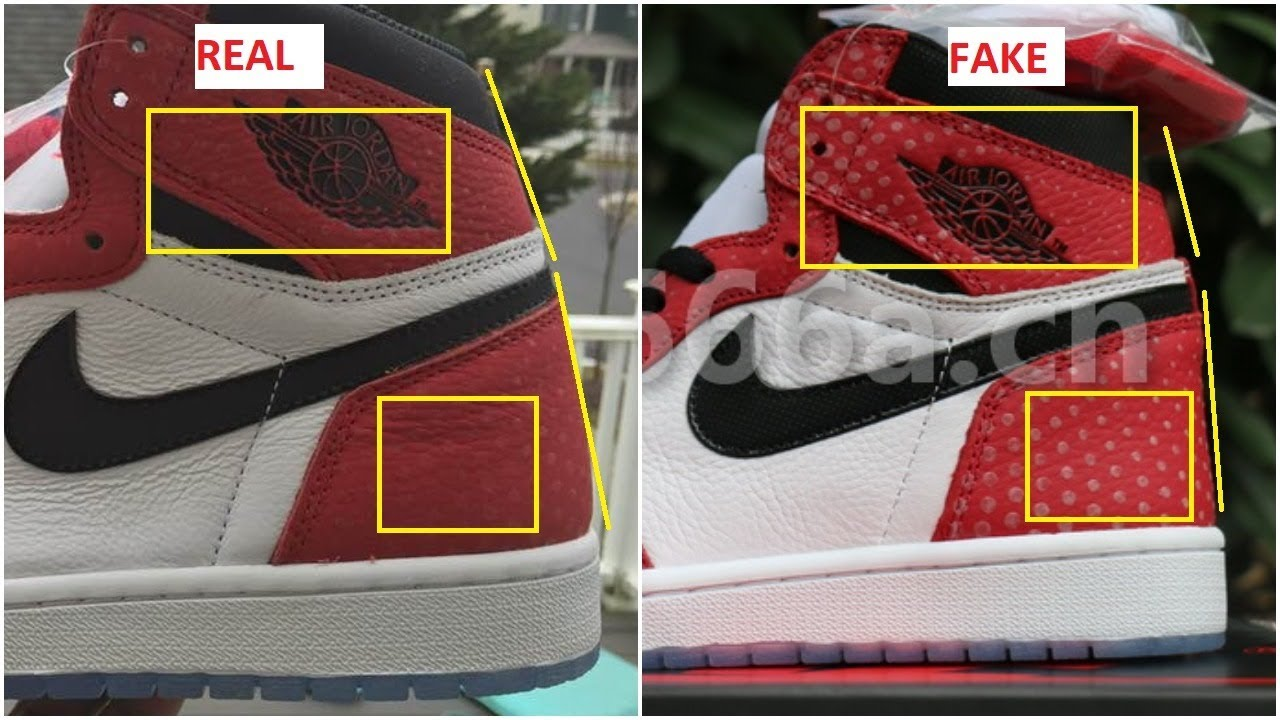 Next To Real Retro S Fake Retro S: Real Vs Fake Air Jordan 1 Origin Story Spiderman- Quick