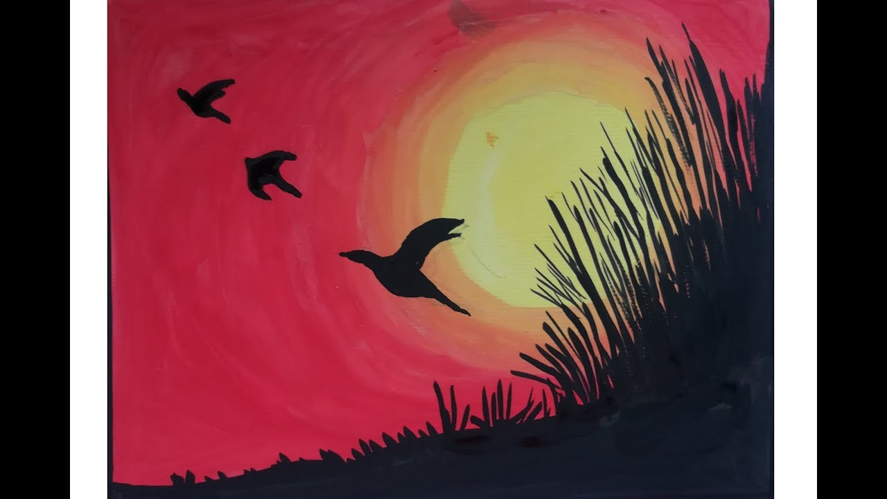 Sunset Poster Color Painting For Beginners Sunset With Birds