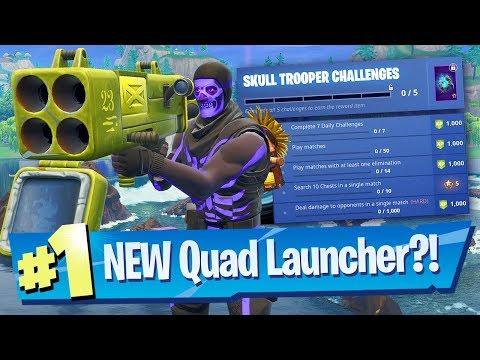 Quad Launcher Gameplay + Skull Trooper Challenges - Fortnite Battle Royale