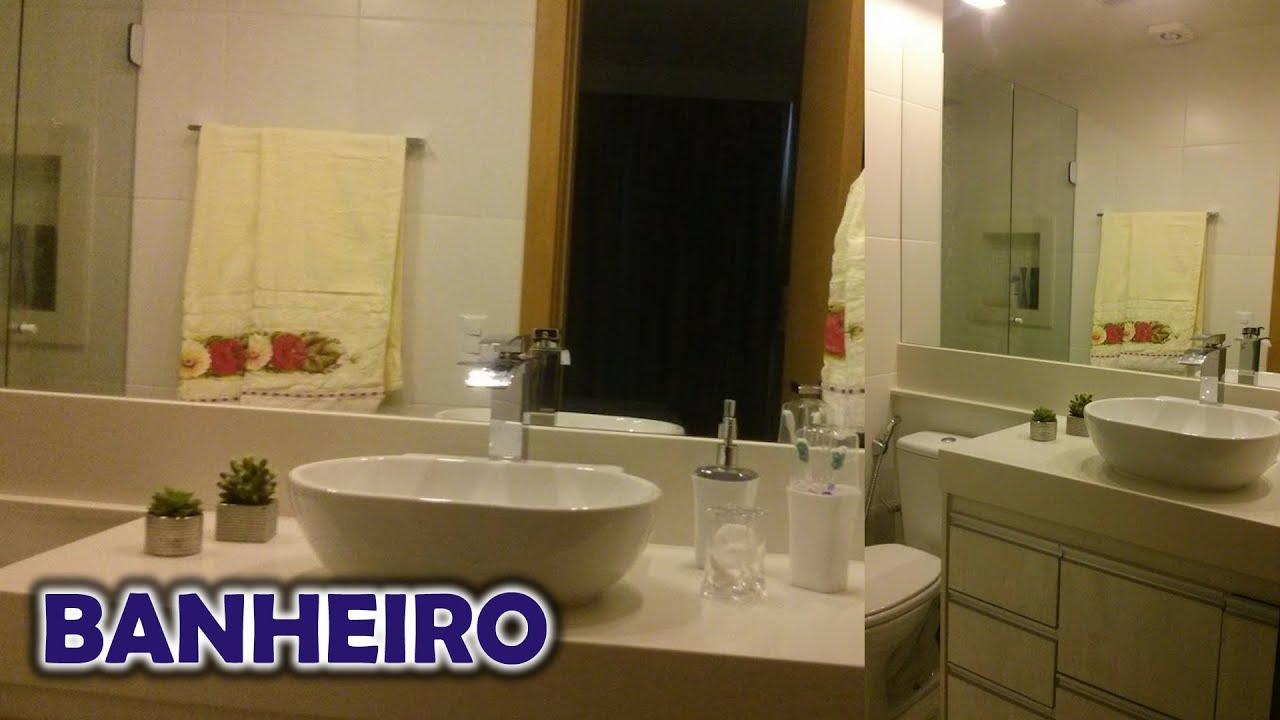 BANHEIRO SOCIAL Com Nicho e Pastilhas de Vidro Espelhada  Planejado  YouTube -> Banheiro Planejado Pequeno