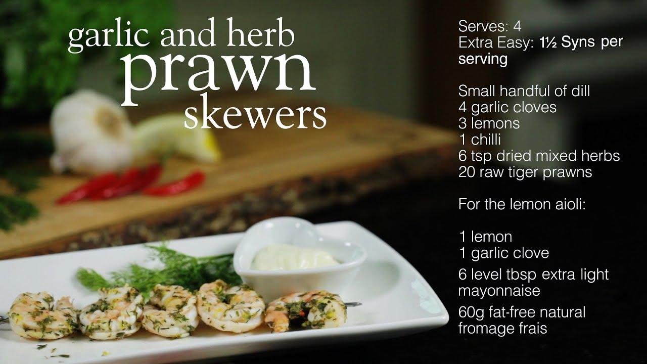 Slimming World Garlic And Herb Prawns With Lemon Aioli