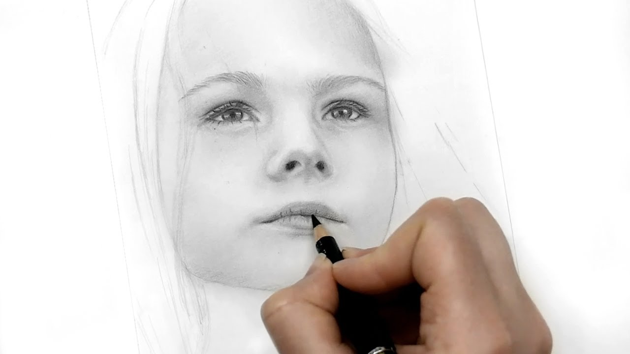 Sketching and Shading a Girl Portrait with Graphite Pencils