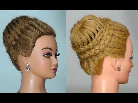 Прическа с плетением Корона/ Паутинка . Crown Braid. Updo Hairstyles