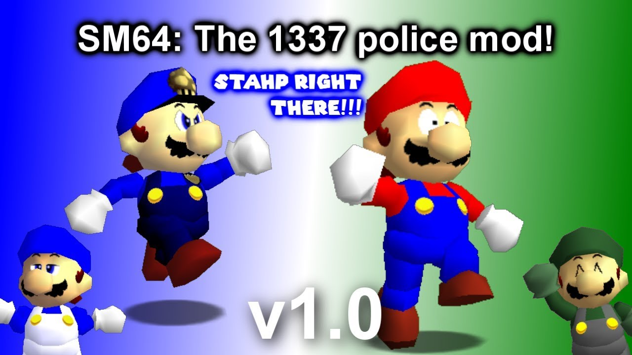 SMG4: The 1337 police mod! [Super Mario 64] [Skin Mods]