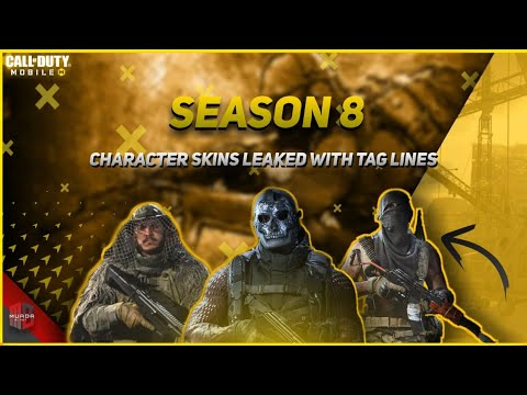 Call Of Duty Mobile Season 8 Character Skin Leaks All New Character Skins Character Tag Lines Youtube