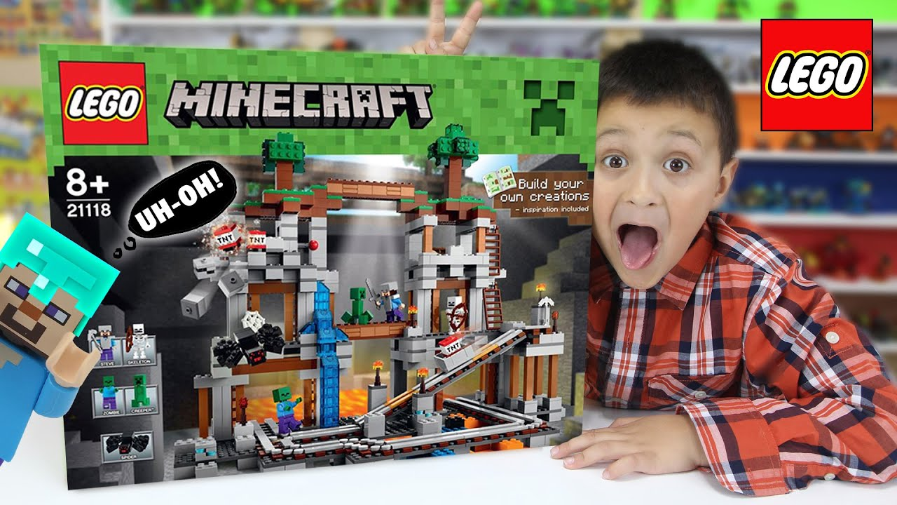 Lets Build LEGO Minecraft THE MINE! w Mike! (Timelapse & FGTEEV Cheesy Review)