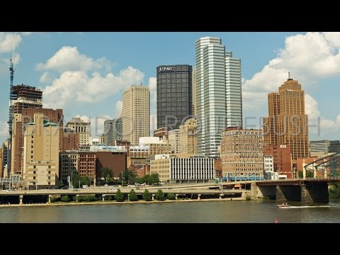 4K Scenic City Timelapse Of Pittsburgh, PA Skyline And River - Royalty Free Stock Footage