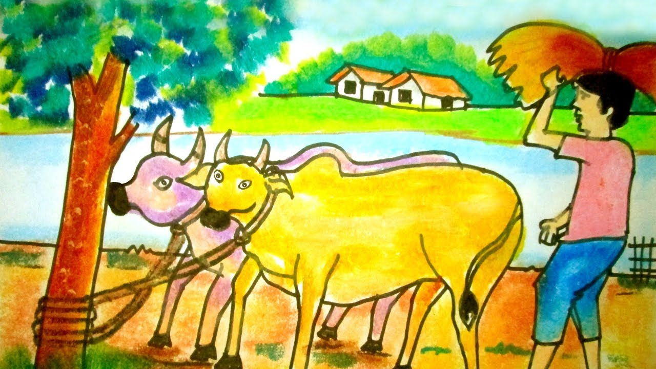 How To Draw Village Scenery With Cow And Cowboy Riverside Village Scenery Indrajit Art School