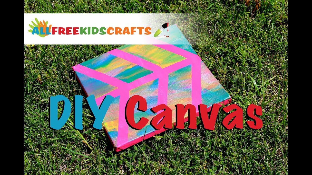 Amazing Canvas Craft Ideas For Kids Part - 6: DIY Painted Canvas: Easy Canvas Craft For Kids - YouTube