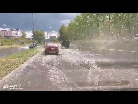 Ливень затопил улицы города Краснокаменска