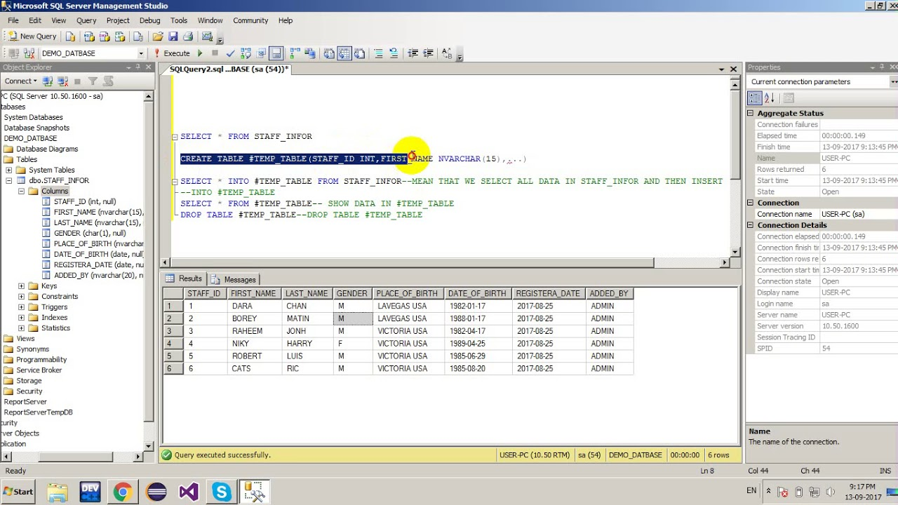 SELECT INTO TEMPORARY TABLE IN SQL SERVER