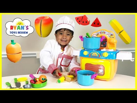 Thumbnail: TOY CUTTING VELCRO FRUITS AND VEGETABLES Toy kitchen cooking soup Learn names of fruits & Vegetables