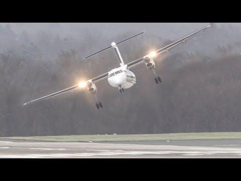 STORM Friederike!!  TURBOPROP CROSSWIND Landings during a hurricane at Düsseldorf (4K)