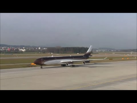 (Wonderful livery) Klaret Aviation (Alischer Burchanowitsch Usmanow) Airbus A-340 taxiing at ZRH