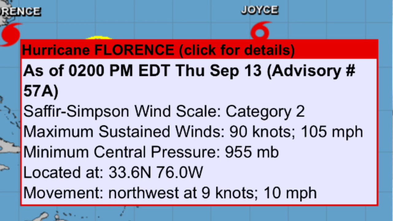 33 Knots To Mph >> Breaking News Hurricane Florence To Make Landfall Tonight North And