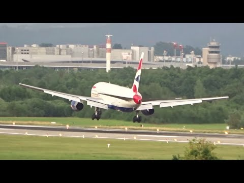 Zürich Airport Planespotting - Stormy Day Crosswind Landings and a Go-around