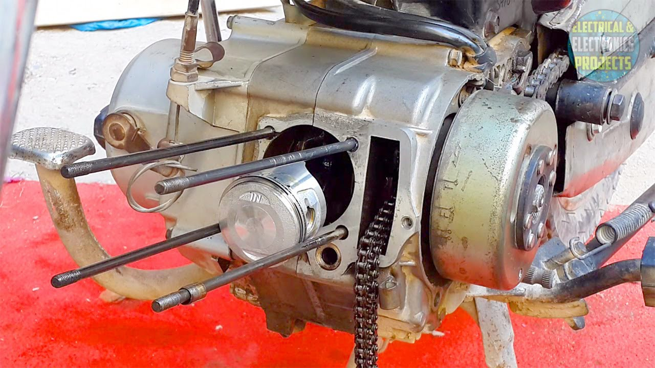 installing piston and valves to cd 70 motorcycle engine head cylinder assemble disassemble ct 70 [ 1280 x 720 Pixel ]