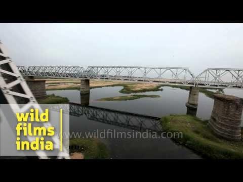 Train passing through Krishna River bridge