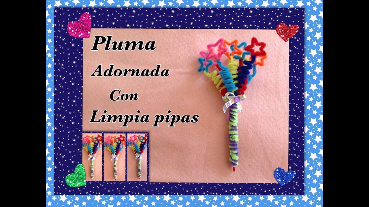 Pluma o lapicero adornado con limpia pipas estrellas for Manualidades con plumas