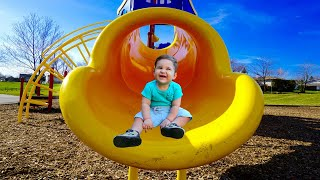 Outdoor Playground Fun For Children / Family Park  / Playground Song by Kirill and Pasha