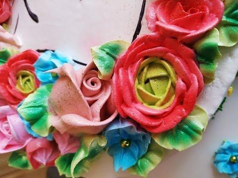 Белково - заварное украшение торта. Как быстро и красиво украсить торт.Юлия Клочкова.