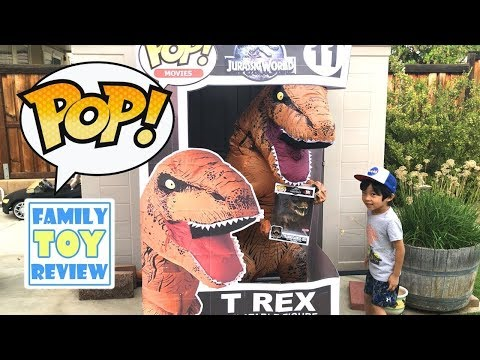 Jurassic World GIANT FUNKO POP T-REX in REAL LIFE - Funko Pop COLLECTION - Dinosaur Toy Pretend Play