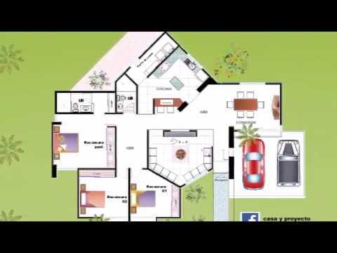 8 planos de casas nuevas un piso con tres rec maras youtube for Plano casa un piso