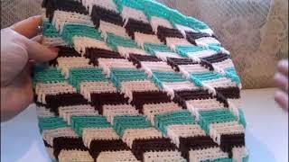 #РельефныйУзор #3DкрючкомПокругу  Вяжем сумку или подушку O teste padrão gravado 3D faz crochê em