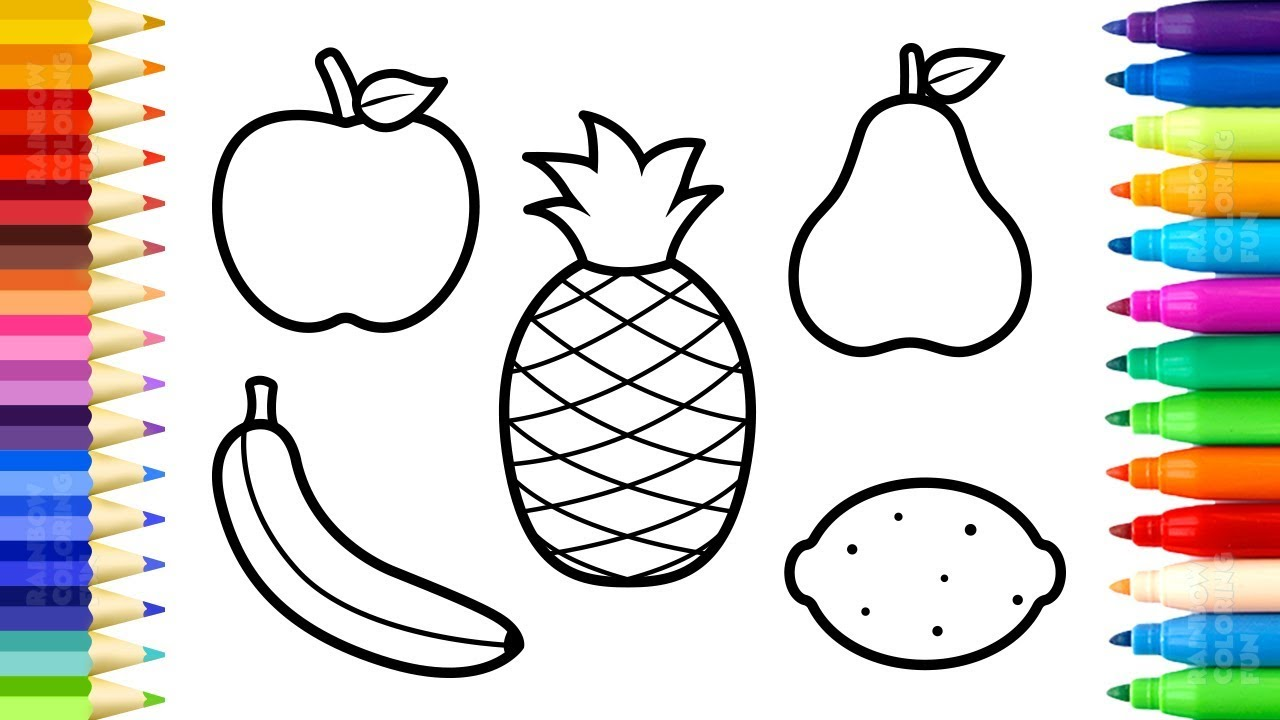 Fruits Coloring Pages - How to Draw and Paint Sweet Fruits ... | fruits coloring pages for kindergarten