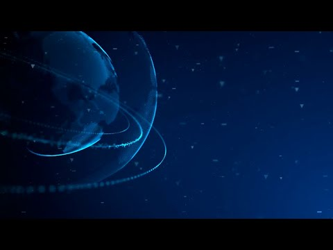 Digital Planet With Rings 03 Motion Graphics