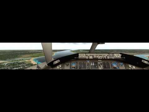 X-Plane 10: Triple Screen 3D Cockpit View of KPHL Approach and Landing in Boeing 777-200LR