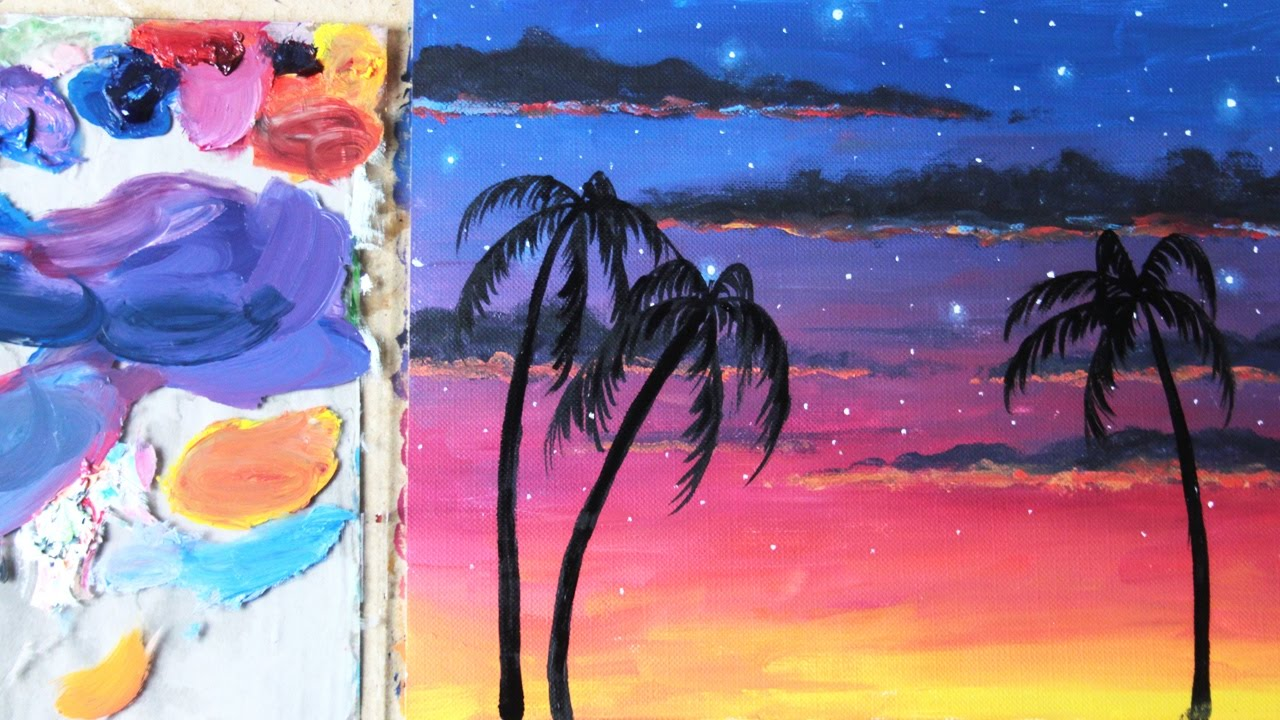 painting tutorial for beginners starry tropical sunset oil paint