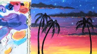 Painting Tutorial for Beginners | Starry Tropical Sunset | Oil Paint