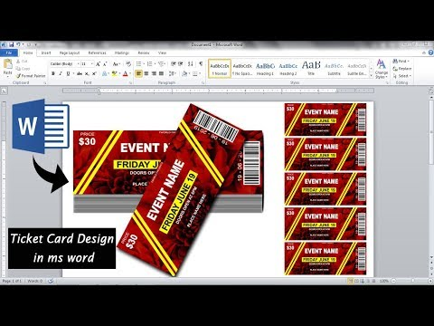 Awesome Ticket Card Design In Ms Word || How To Make Beautiful Ticket Design In Ms Word ||