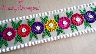 Beautiful Multicolour Flower Border Rangoli Design Using Bangle - Rangoli Border Simple !