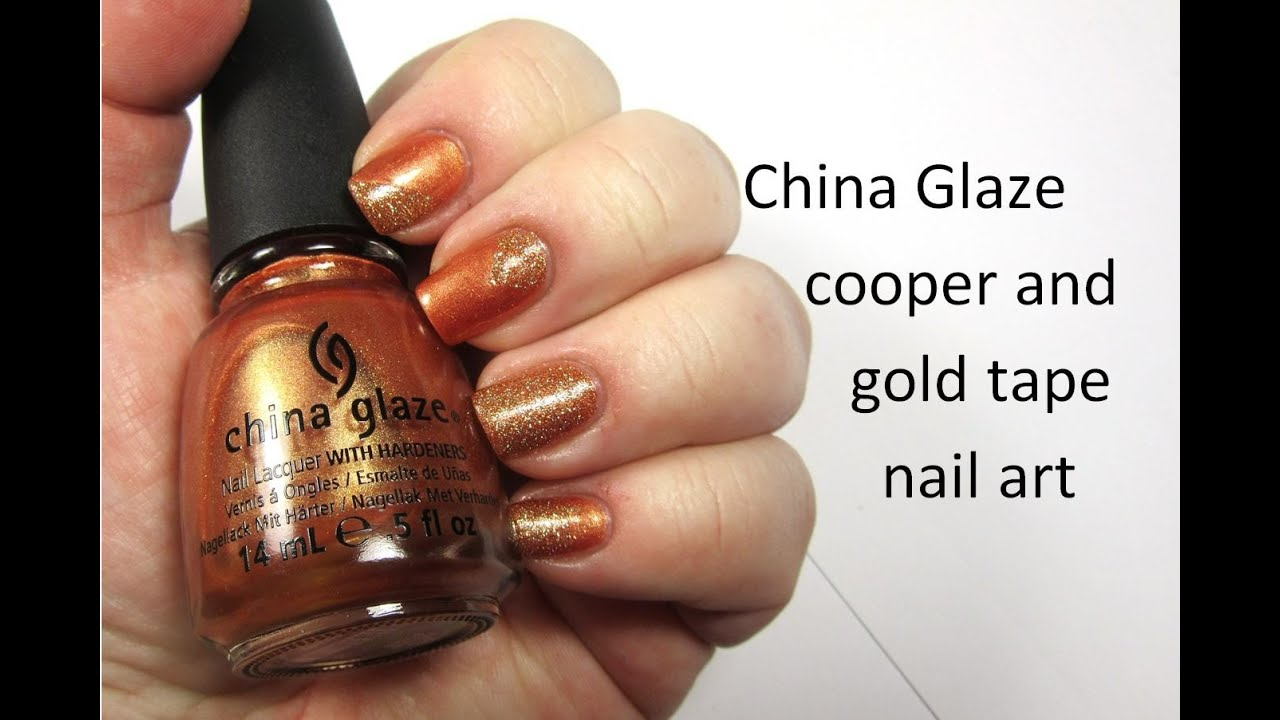 Tape mani in copper and golden glitter nail art using china glaze tape mani in copper and golden glitter nail art using china glaze polish nailhubnz prinsesfo Choice Image