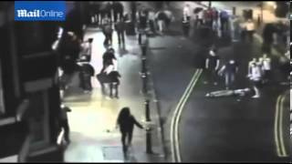 CCTV  Shocking moment man is kicked in head 'like football'   Mail Online