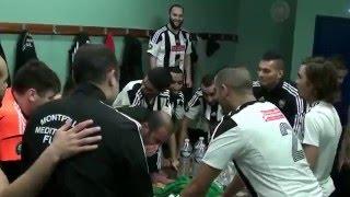 La joie du Montpellier Méditerranée Futsal après la victoire (1-6) face au Paris Saint Ouen