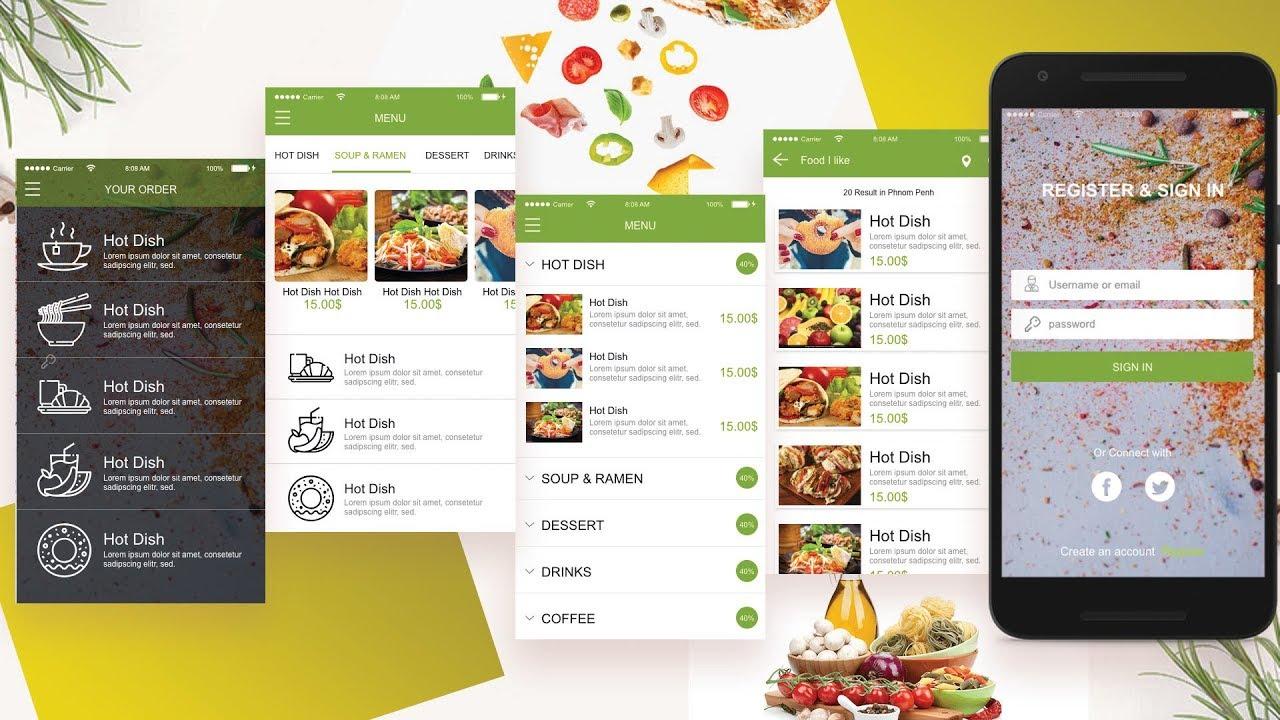 App Food Concept Design in Adobe XD CC 2019 adobe xd tutorial
